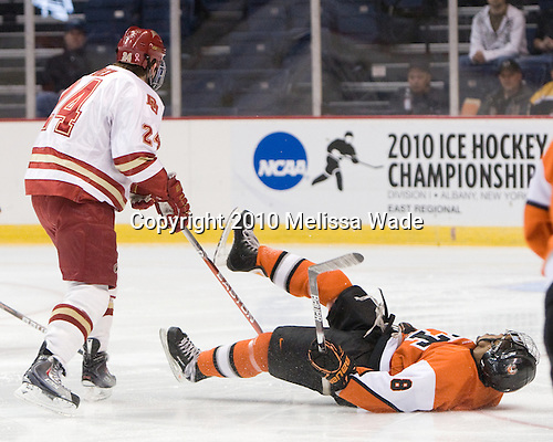 John Ryder (Denver - 24), Cameron Burt (RIT - 18) - The Rochester Institute of Technology (RIT) Tigers defeated the Denver University Pioneers 2-1 on Friday, March 26, 2010, in their NCAA East Regional semi-final at the Times Union Center in Albany, New York.