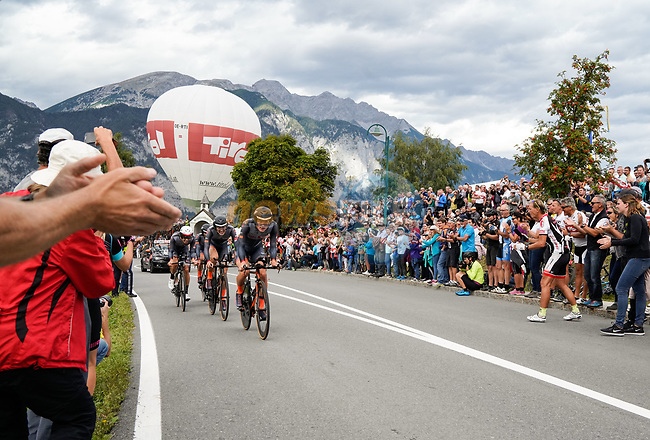 Tirol Cycling Team in action during the Men's Elite Team Time Trial of the 2018 UCI Road World Championships running 62.8km from Ötztal to Innsbruck, Innsbruck-Tirol, Austria 2018. 23rd September 2018.<br /> Picture: Innsbruck-Tirol 2018/Schels Sebastian | Cyclefile<br /> <br /> <br /> All photos usage must carry mandatory copyright credit (© Cyclefile | Innsbruck-Tirol 2018/Schels Sebastian)