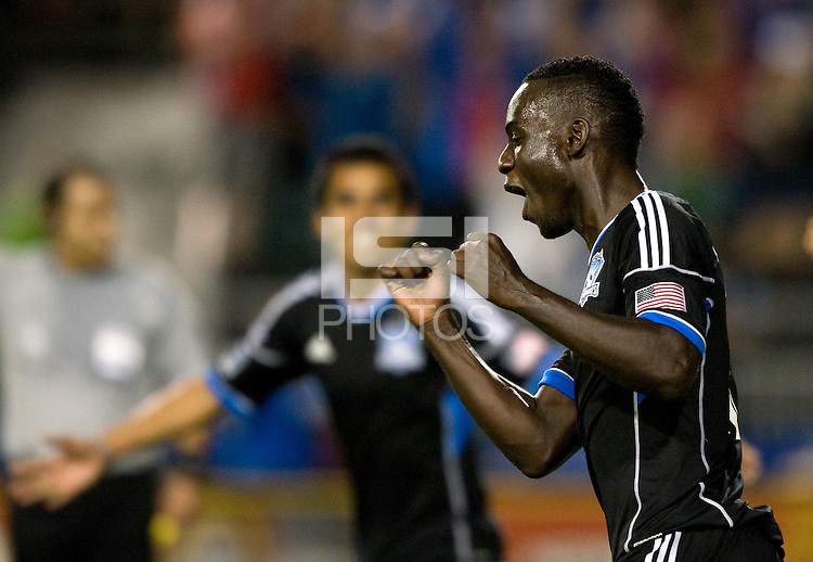 Simon Dawkins of Earthquakes celebrates after scoring a goal during the second half of the game against Seattle at Buck Shaw Stadium in Santa Clara, California on August 11th, 2012.   Earthquakes defeated Sounders, 2-1.