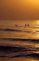 Indien, Mahabalipuram (Tamil Nadu), Sonnenaufgang am Meer, Fischer