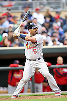 April 2, 2010: Albert Pujols of the St. Louis Cardinals in the first professional baseball game played at the Minnesota Twins new home, Target Field. Photo by: Chris Proctor/Four Seam Images