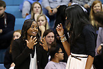 16 November 2014: UNC assistant coach Ivory Latta (left) and UCLA assistant coach Shannon Perry (right). The University of North Carolina Tar Heels hosted the University of California Los Angeles Bruins at Carmichael Arena in Chapel Hill, North Carolina in a 2014-15 NCAA Division I Women's Basketball game. UNC won the game 84-68.