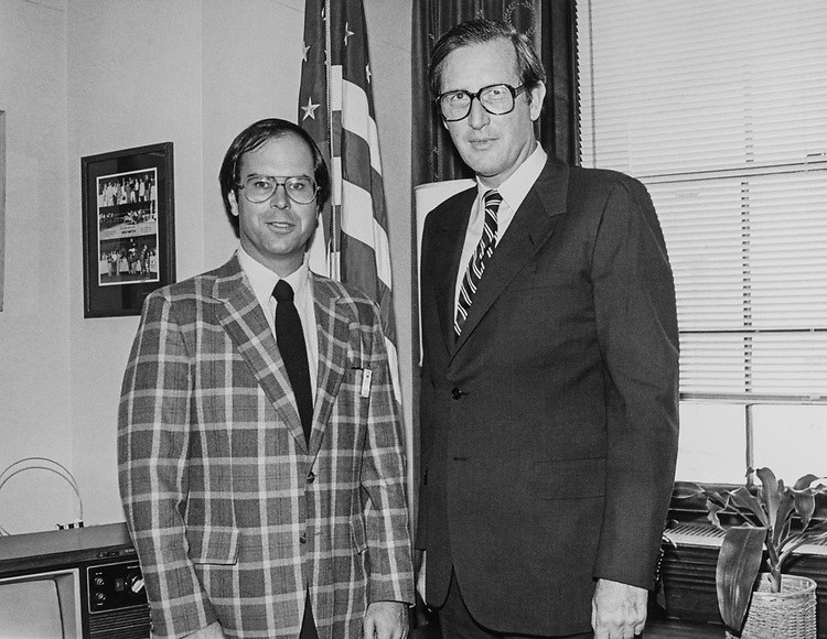 Rep. Harley O. Staggers, D-W.Va., and Gov. Jay Rockefeller, D-W.Va., in September 1983. (Photo by CQ Roll Call)