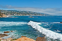 Pounding Surf, Waves, Laguna Beach CA, Rockpile Beach, seaside resort, artist community, located in southern, Orange County, California, United States