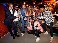 """LOS ANGELES, CA - APRIL 3: (L-R) Cast members Chris Geere, Desmin Borges, Creator/EP/Showrunner/Writer/Director Stephen Falk, cast members Kether Donohue and Aya Cash, and Darrell Britt-Gibson and Allen Maldonado attend the post-party at Two Bit Circus following the FYC Red Carpet event for the series finale of FX's """"You're the Worst"""" on April 3, 2019 in Los Angeles, California. (Photo by Frank Micelotta/FX/PictureGroup)"""