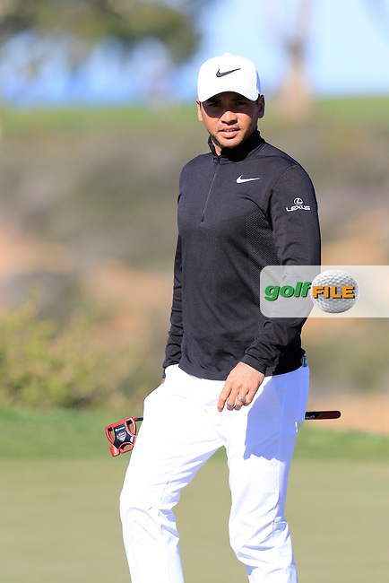 Jason Day (AUS) on the 12th green during Friday's Round 2 of the 2017 Farmers Insurance Open held at Torrey Pines Golf Course, La Jolla, San Diego, California, USA.<br /> 27th January 2017.<br /> Picture: Eoin Clarke | Golffile<br /> <br /> <br /> All photos usage must carry mandatory copyright credit (&copy; Golffile | Eoin Clarke)