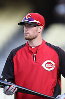 Zack Cozart #2 of the Cincinnati Reds before a game against the Los Angeles Dodgers at Dodger Stadium on July 3, 2012 in Los Angeles, California. Los Angeles defeated Cincinnati 3-1. (Larry Goren/Four Seam Images)