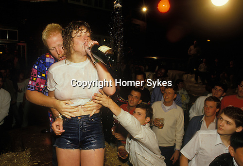 American service men from USAF base RAF Mildenhall, watch local girls in a wet T shirt competition Suffolk Bird in Hand Pub.