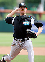 Syracuse Chiefs Pitcher Collin Balester ( 40) delivers a pitch during a game vs. the Buffalo Bisons at Coca-Cola Field in Buffalo, New York;  June 3, 2010.  Syracuse defeated Buffalo 7-1.  Photo By Mike Janes/Four Seam Images