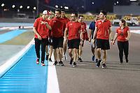 28th November 2019; Yas Marina Circuit, Abu Dhabi, United Arab Emirates; Formula 1 Abu Dhabi Grand Prix, arrivals day; Mick Schumacher walks the track with his Formula 2 team  - Editorial Use
