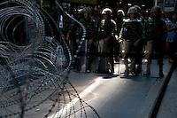 Thai troops on Silom road in Bangkok's financial heart.
