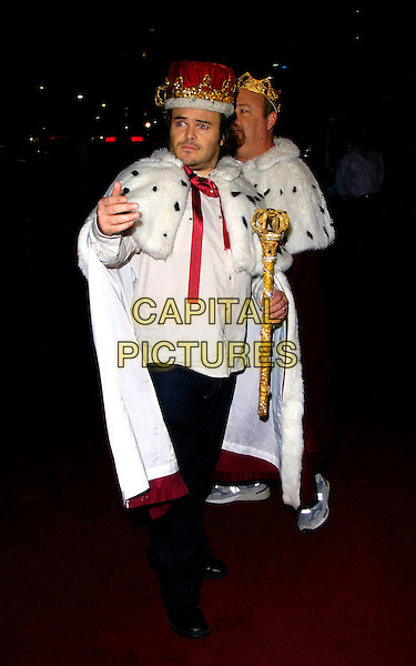 "JACK BLACK & KYLE GASS.""Tenacious D: In The Pick Of Destiny"" world premiere, Vue West End, London, UK..November 1st, 2006.Ref: CAN.full length royalty crown cape staff white.www.capitalpictures.com.sales@capitalpictures.com.©Can Nguyen/Capital Pictures"