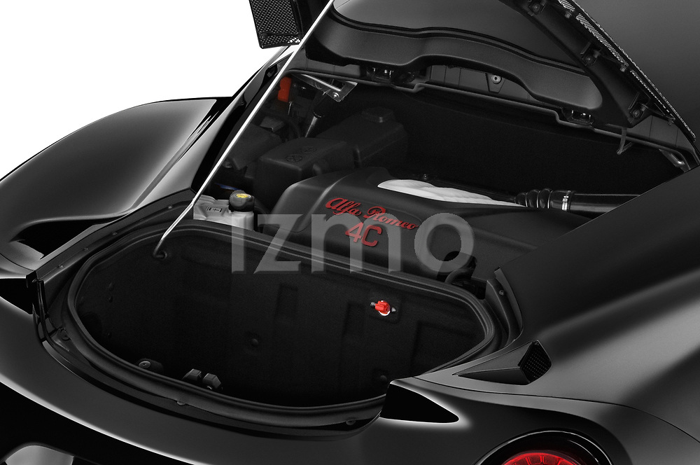 Car stock 2016-2017 Alfa Romeo 4C Base 2 Door Coupe engine high angle detail view