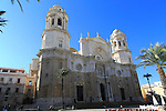 Frontage of cathedral church building, Cadiz, Spain