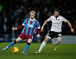 Luke Williams of Scunthorpe Utd tussles with Dean Hammond of Sheffield Utd - English League One - Scunthorpe Utd vs Sheffield Utd - Glandford Park Stadium - Scunthorpe - England - 19th December 2015 - Pic Simon Bellis/Sportimage