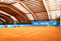 1st May 2020, Hohr Grenzhausen, Germany; The clay courts set up for todays Tennis Point Exhibition, taking place just outside the small town of Hohr Grenzhausen which is the 1st official sporting event in 37 days in Germany