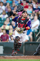 Rochester Red Wings catcher Rene Rivera #13 during an International League game against the Pawtucket Red Sox at Frontier Field on August 11, 2012 in Rochester, New York.  Rochester defeated Pawtucket 5-3.  (Mike Janes/Four Seam Images)