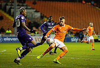 Blackpool's Calum MacDonald vies for possession with Tranmere Rovers' Morgan Ferrier<br /> <br /> Photographer Alex Dodd/CameraSport<br /> <br /> The EFL Sky Bet League One - Blackpool v Tranmere Rovers - Tuesday 10th March 2020 - Bloomfield Road - Blackpool<br /> <br /> World Copyright © 2020 CameraSport. All rights reserved. 43 Linden Ave. Countesthorpe. Leicester. England. LE8 5PG - Tel: +44 (0) 116 277 4147 - admin@camerasport.com - www.camerasport.com