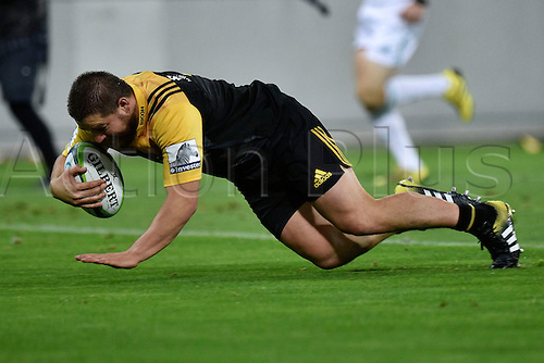 09.04.2016. Wellington, New Zealand.  Dane Coles captain of the Hurricanes scores a try during the Hurricanes versus Jaguares Super Rugby match at the Westpac Stadium in Wellington on Saturday 9thApril 2016.