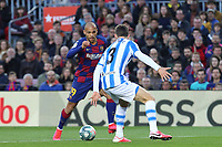 7th March 2020; Camp Nou, Barcelona, Catalonia, Spain; La Liga Football, Barcelona versus Real Sociedad;  Braithwaite of Barca takes on Llorente of Real