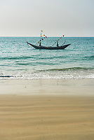 Fishing boat at Tizit Beach, Dawei Peninsula, Tanintharyi Region, Myanmar (Burma)