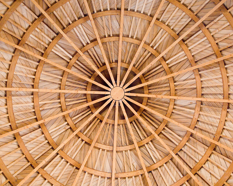 The reconstructed wooden ceiling in the audience hall of the Umayyad Palace was built of wood in the original building style and with historical techniques.   © Rick Collier