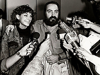 Sepetmber 1st 1986 - Montreal (Qc) CANADA - Claude Gagnon win the Grand-Prize of the Americas at the 1986 World Film Festival for his movie KENNY. In photo : Liane Curtis, actress (L) and Gagnon talk to the media right after learning the good news.