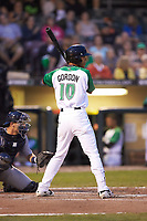 Miles Gordon (10) of the Dayton Dragons at bat against the Bowling Green Hot Rods at Fifth Third Field on June 8, 2018 in Dayton, Ohio. The Hot Rods defeated the Dragons 11-4.  (Brian Westerholt/Four Seam Images)