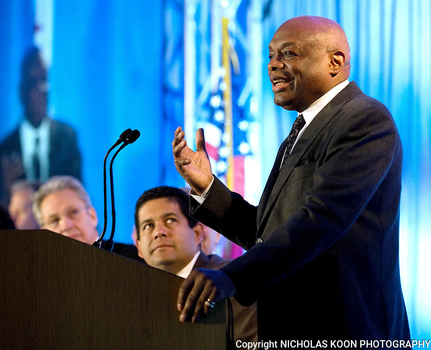 Former California Speaker of the Assembly and past Mayor of San Francisco,  Willy Brown speaks at the CAA convention in San Francisco in December, 2011.