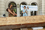 Japanese actress and singer Hikari Mitsushima (C) holds a stone axe during a news conference at the National Museum of Nature and Science in Tokyo on July 31, 2018, Tokyo, Japan. The museum aims to collect 30 million yen to recreate the Japanese ancestors' journey between Taiwan and Yonaguni Island on a wooden dugout canoe. (Photo by Rodrigo Reyes Marin/AFLO)