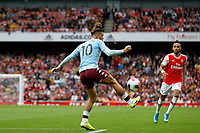 Jack Grealish of Aston Villa brings the ball under control during the Premier League match between Arsenal and Aston Villa at the Emirates Stadium, London, England on 22 September 2019. Photo by Carlton Myrie / PRiME Media Images.