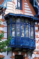 Europe/France/Aquitaine/33/Gironde/Bassin d'Arcachon/Arcachon: Ville d'hiver - Détail d'une villa Vincenette Bow Window
