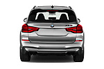 Straight rear view of 2020 BMW X3 M-Competition 5 Door SUV Rear View  stock images