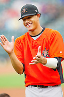 Manny Machado #3 of the Frederick Keys prior to the game against the Winston-Salem Dash at BB&T Ballpark on August 5, 2011 in Winston-Salem, North Carolina.  The Dash defeated the Keys 10-0.   Brian Westerholt / Four Seam Images