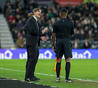 31st January 2020; Pride Park, Derby, East Midlands; English Championship Football, Derby County versus Stoke City; Derby County Manager Phillip Cocu compliant to the Assistant Referee during the second half