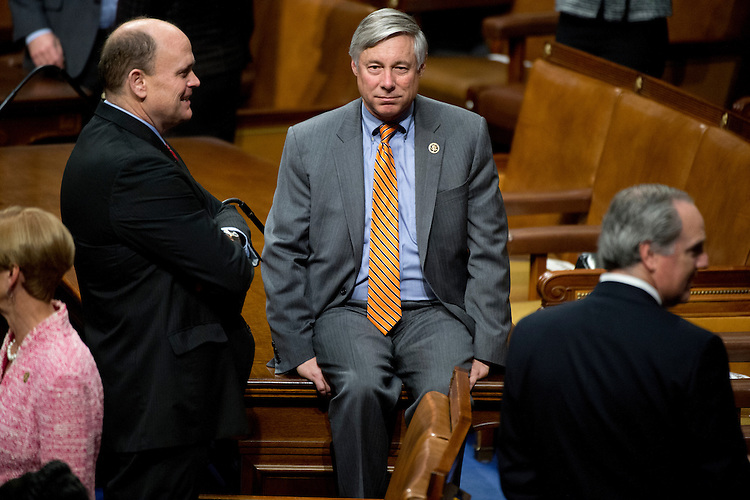 UNITED STATES - JANUARY 20: Reps. Fred Upton, R-Mich., right, and Tom Reed, R-N.Y., talk in the Capitol's House chamber before President Barack Obama's State of the Union address, January 20, 2015. (Photo By Tom Williams/CQ Roll Call)