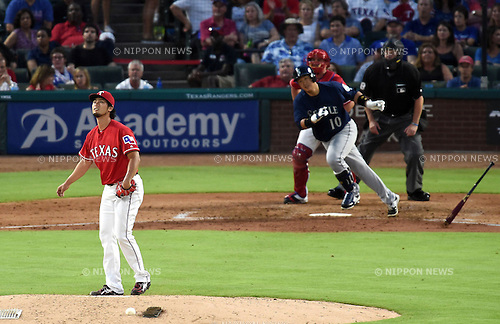 (F-B) Yu Darvish (Rangers), Lee Dae-Ho (Mariners), JUNE 3, 2016 - MLB : Texas Rangers Starting pitcher Yu Darvish pitches against Dae-Ho Lee of Seattle Mariners in the fifth inning during the MLB game between the Seattle Mariners and the Texas Rangers at Globe Life Park in Arlington, United States. (Photo by AFLO)