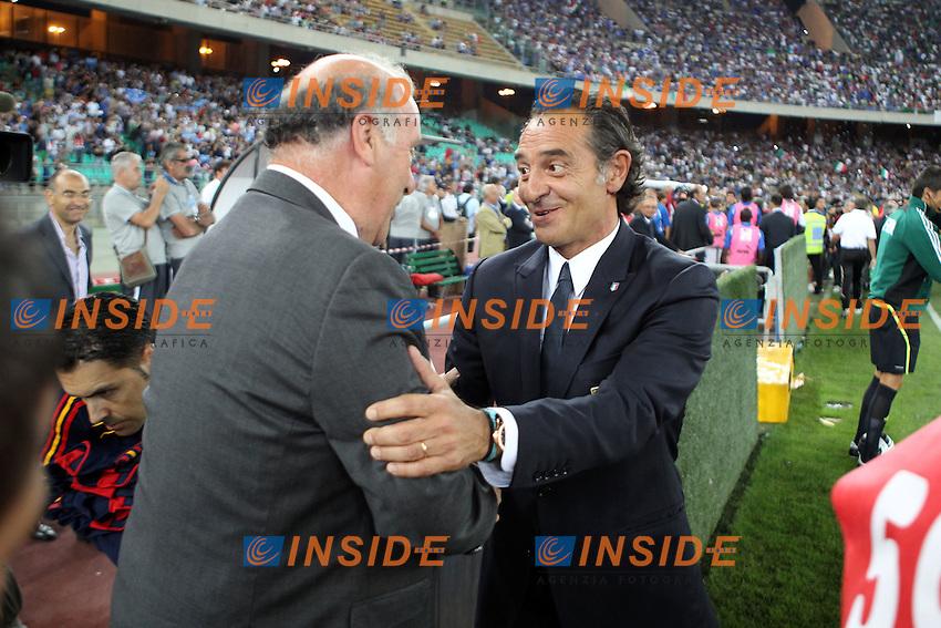 Cesare Prandelli e Vicente Del Bosque.Bari 10/8/2011 Stadio S.Nicola.Football Calcio amichevole Italia Vs Spagna.Foto Insidefoto Paolo Nucci