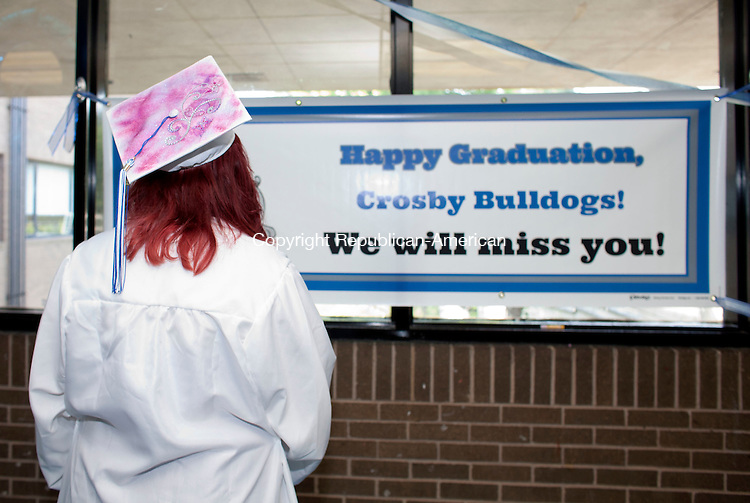 WATERBURY, CT-17 June 2014-061714BF12- Aryani Romero, 18, prepares to walk into graduation at Crosby High School in Waterbury Tuesday night. Bob Falcetti Republican-American
