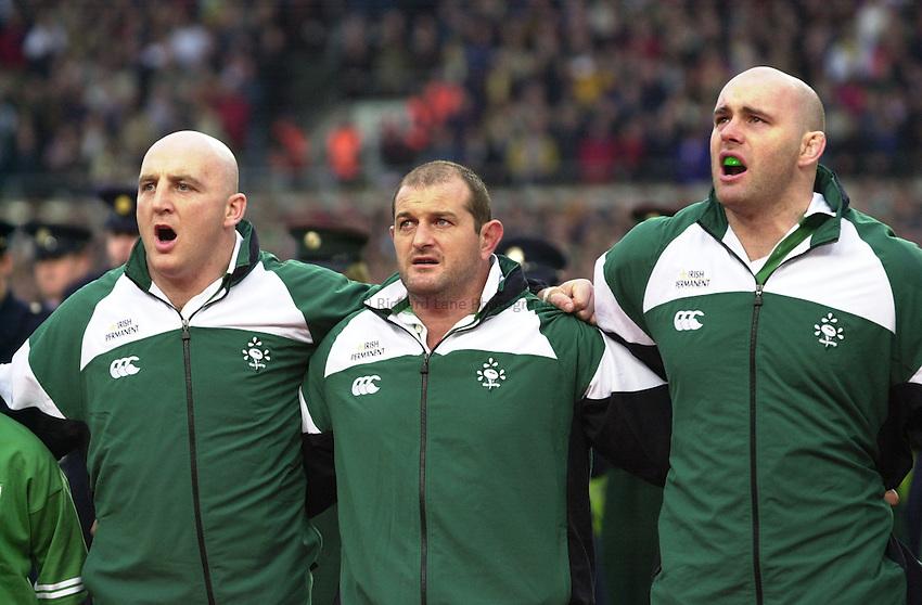 Photo. Richard Lane. .Ireland v New Zealand at Lansdowne Road, Dublin. 17-11-2001.Ireland front row, Keith Wood, Peter Clohessy and John Hayes