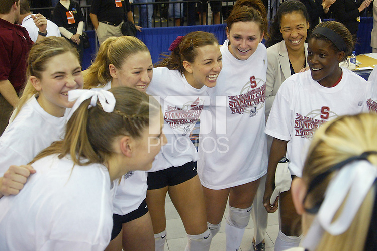 18 December 2004: Stanford's Liz Suiter, Bryn Kehoe, Jennifer Wilson, Katie Goldhahn, Debi Gore-Mann, and Njideka Nnamani during Stanford's  30-23, 30-27, 30-21 victory over Minnesota in the 2004 NCAA Women's Volleyball National Championships in Long Beach, CA. Stanford won their sixth women's volleyball title in school history.<br />