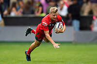 Dom Coetzer of Gloucester Rugby dives to score a try. Premiership Rugby 7s (Day 2) on July 28, 2018 at Franklin's Gardens in Northampton, England. Photo by: Patrick Khachfe / Onside Images