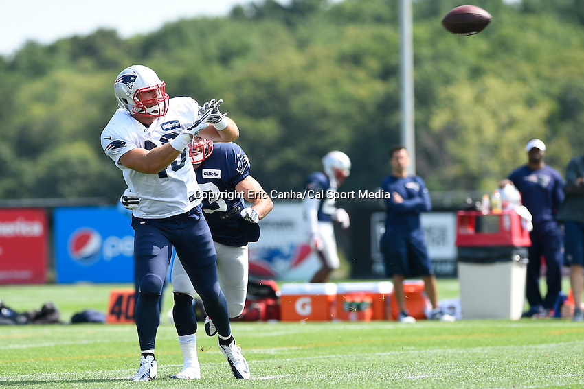July 30, 2014 - Foxborough, Massachusetts, U.S.- New England Patriots fullback James Develin (46) and defensive back Nate Ebner (43) both watch the ball during the New England Patriots training camp held at Gillette Stadium in Foxborough Massachusetts.  Eric Canha/CSM