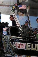 Feb. 14, 2013; Pomona, CA, USA; Detailed view of the canopy on the car of NHRA top fuel dragster driver Brittany Force during qualifying for the Winternationals at Auto Club Raceway at Pomona.. Mandatory Credit: Mark J. Rebilas-