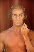Gary Avis of The Royal Ballet making himself up for the role of Monsieur G.M. in Manon