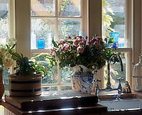In front of a sash window in the kitchen a large jug of roses has been arranged in an old blue and white jug on the draining board