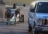 Feb 12, 2016; Pomona, CA, USA; Crew member for NHRA top fuel driver Leah Pritchett during qualifying for the Winternationals at Auto Club Raceway at Pomona. Mandatory Credit: Mark J. Rebilas-USA TODAY Sports