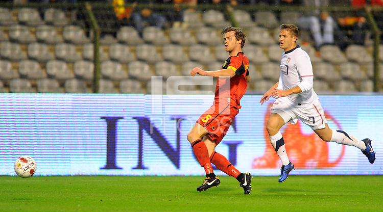 USA's Robbie Rogers (r) and Belgium's Nicolas Lombaerts fight for the ball during the friendly match Belgium vs USA at King Baudoin stadium in Brussels, Belgium on September 06th, 2011.