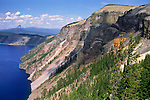 Steep slopes of the volcanic crater at Skell Head, Crater Lake National Park, Oregon