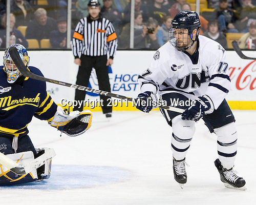 Paul Thompson (UNH - 17) - The Merrimack College Warriors defeated the University of New Hampshire Wildcats 4-1 in their Hockey East Semi-Final on Friday, March 18, 2011, at TD Garden in Boston, Massachusetts.